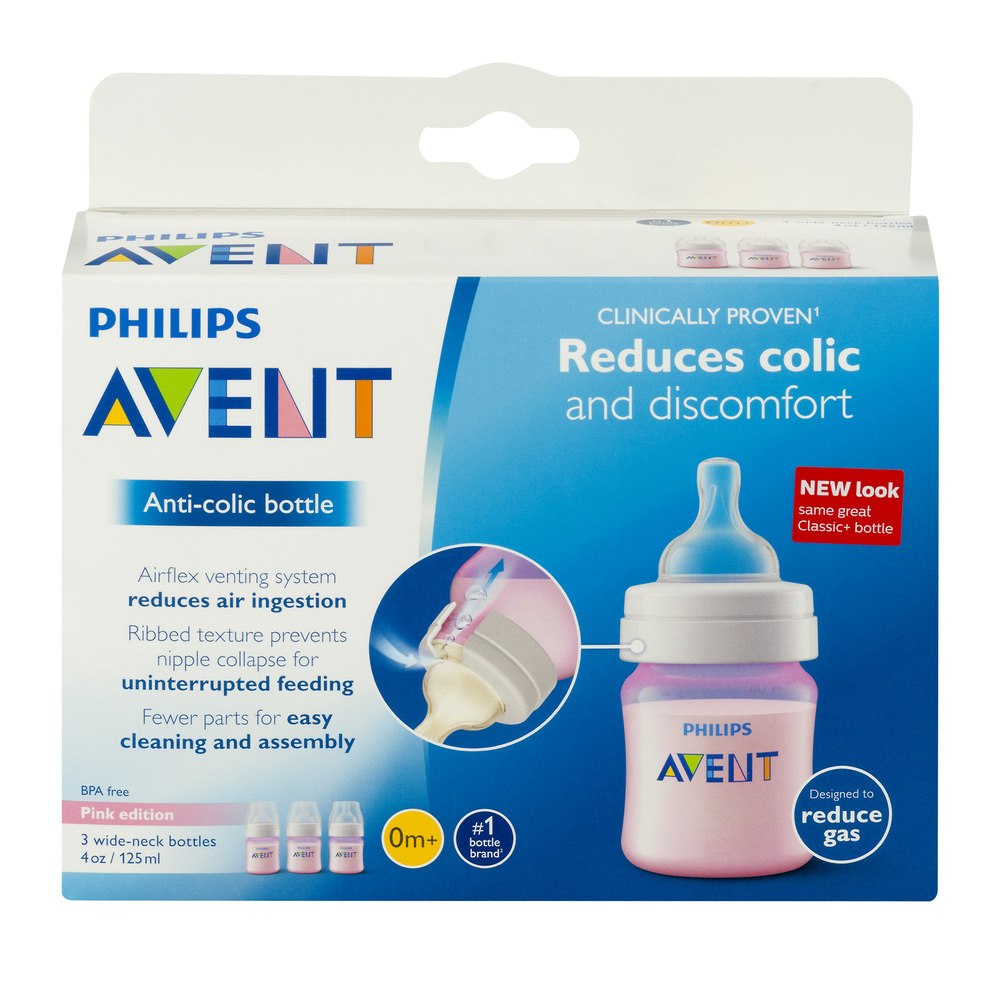 Philips Avent Anti-Colic Pink 4-oz Baby Bottles, BPA-Free, 3pk by Philips AVENT