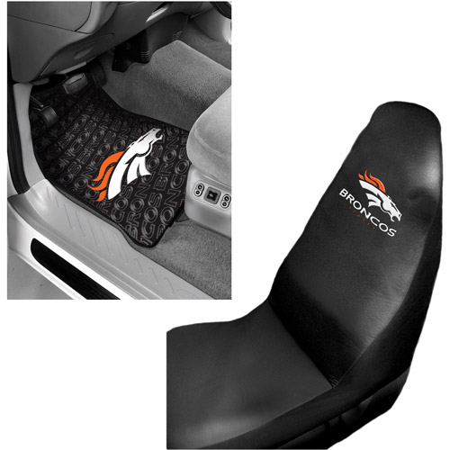 NFL Denver Broncos 2 pc Front Floor Mats and Denver Broncos Car Seat Cover Value Bundle
