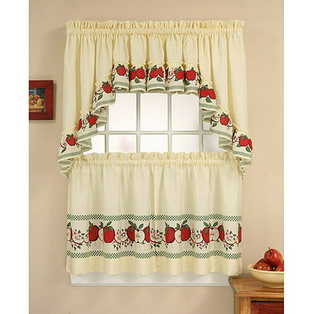Apple Kitchen Curtains - CHF & You Red Delicious Kitchen Curtains, Set of 2