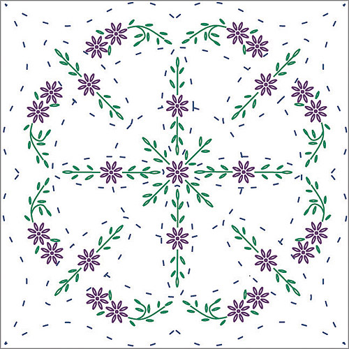 "Fairway Needlecraft Easy Lazy Daisy Stamped Quilt Blocks, 18"" x 18"""