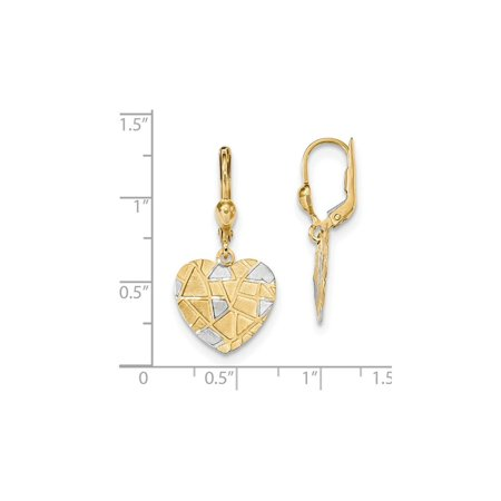 14K Yellow Gold Textured Heart Leverback Dangle Earrings - image 1 de 2
