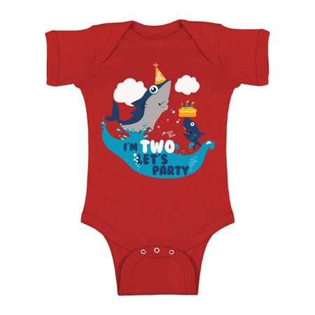 Awkward Styles Shark Birthday Bodysuit Short Sleeve for Newborn Baby Shark Birthday Gifts for 2 Year Old Cute One Piece Shark Outfit 2nd Birthday Bodysuit for Baby Boys and Baby Girls](Gift For Two Year Old)