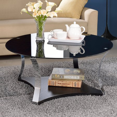 acme geiger coffee table black glass rose gold. Black Bedroom Furniture Sets. Home Design Ideas