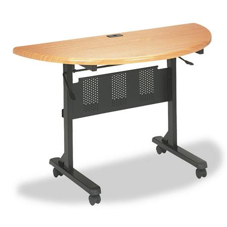 BALT Flipper Training Table, Half-Round, 48w x 24d x 29-1/2h, Teak/Black