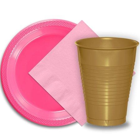 50 Hot Pink Plastic Plates (9