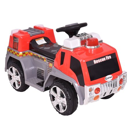 Costway 6V Kids Ride On Rescue Fire Truck Electric Battery Powered w/Lights & - Fire Truck For Kids To Ride