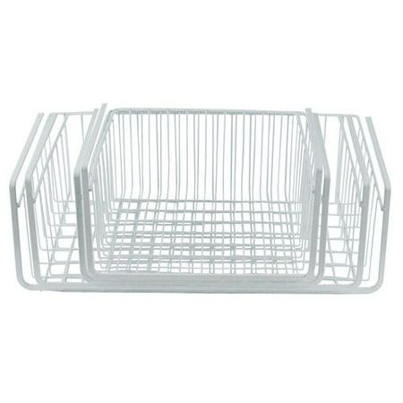 southern homewares white wire under shelf storage basket. Black Bedroom Furniture Sets. Home Design Ideas