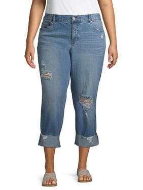 Terra & Sky Women's Plus Size Slim Boyfriend Jeans with Comfort Waist
