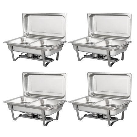 UBesGoo (Lot of 4) 7Qt Stainless Steel Chafing Dish Complete Full Size Chafer Buffet Dish, for Catering Buffet Warmer Tray Kitchen Party Dinin - Buffet For Sale