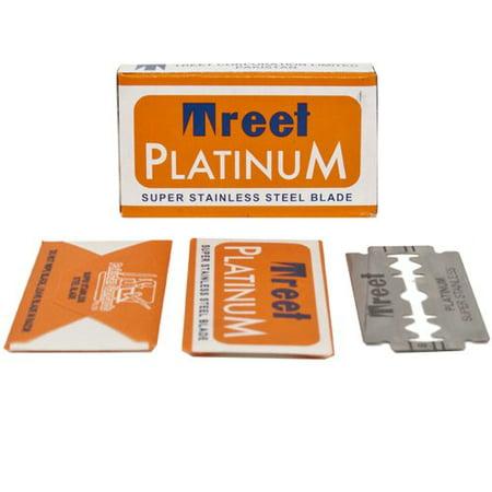 Treet Platinum Super Stainless Double Edge Razor Blades, (100 Blades) Treet Double Edge