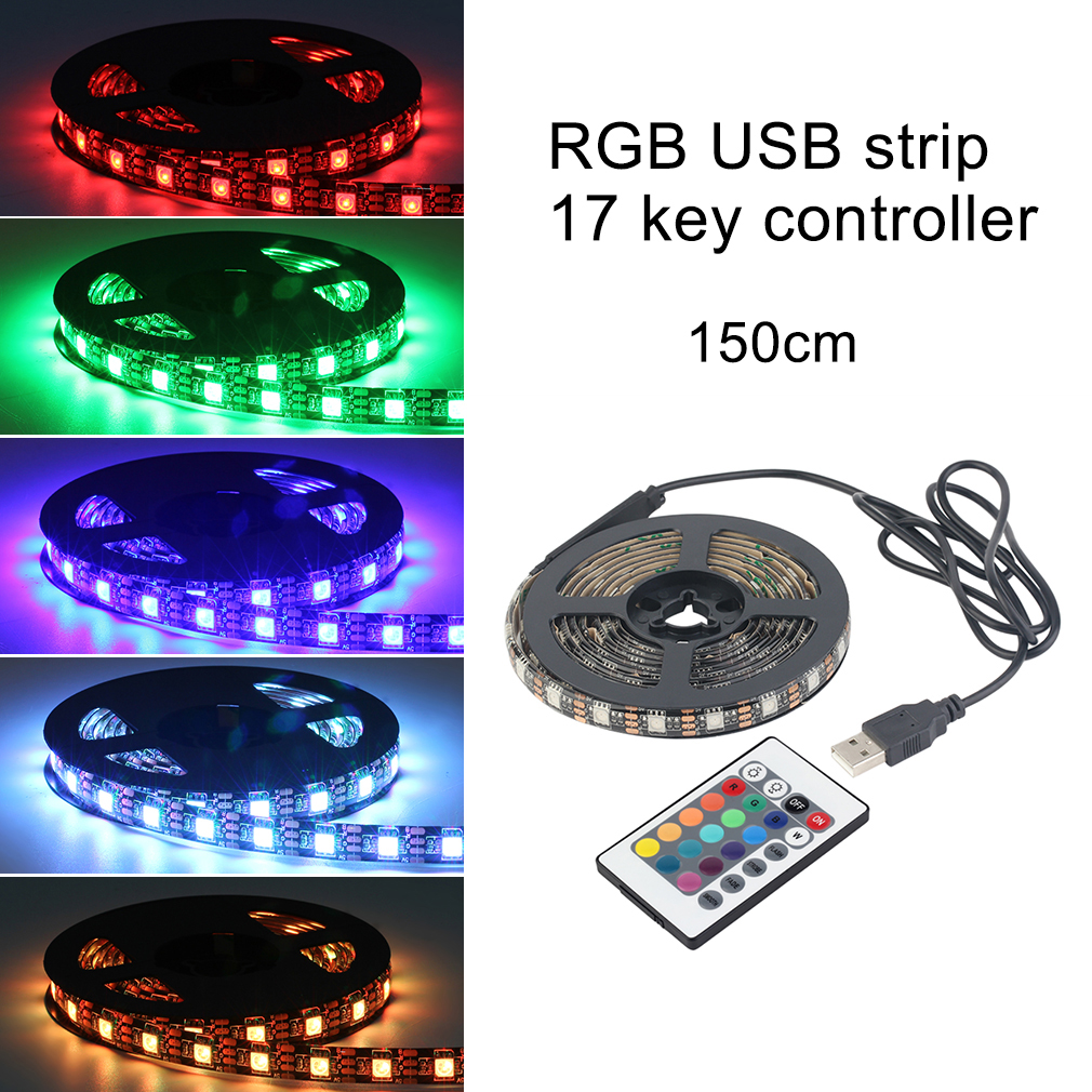 12 RGB 5050 SMD Waterproof Flexible USB LED Black Strip Lamps Light 5V