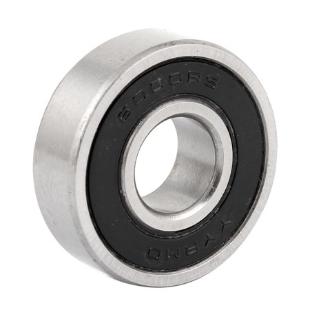 Unique Bargains Roller Wheel 6000RS Deep Groove Ball Bearing 26mm Outer Diameter Black