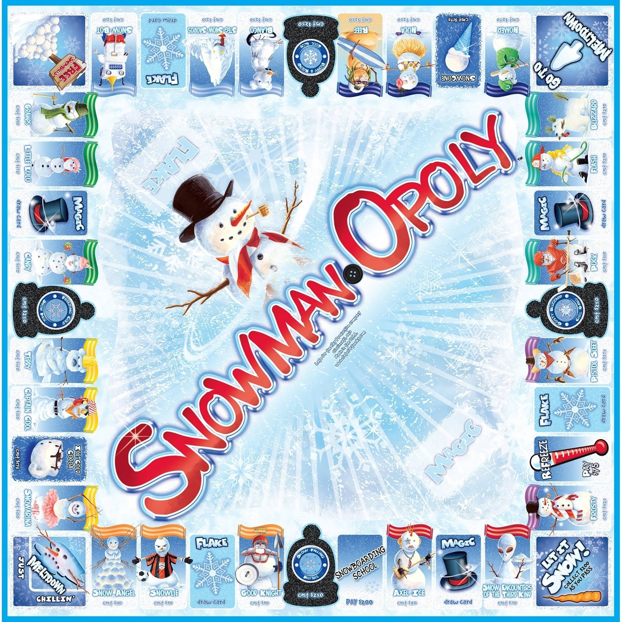 Late For The Sky Snowman Opoly Game Walmart