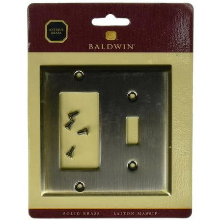 Baldwin 4743050 Toggle Beveled Edge Switch Plate GFCI & Single - Antique Brass Baldwin Single Gfci Solid Brass