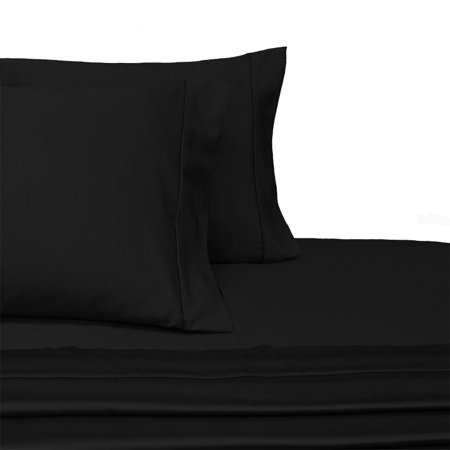 100% Long-Staple Cotton Sateen Sheets 300TC Solid Bed Sheet Set - California King-Black