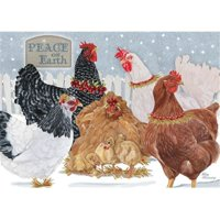 Pipsqueak Productions C714 Holiday Hens Farm Christmas Boxed Cards - Pack of 10