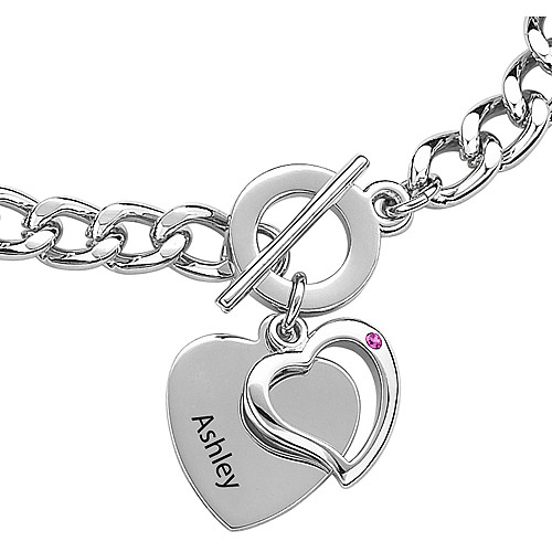 Personalized Silver-Plated Name & Birthstone Heart Charm Bracelet