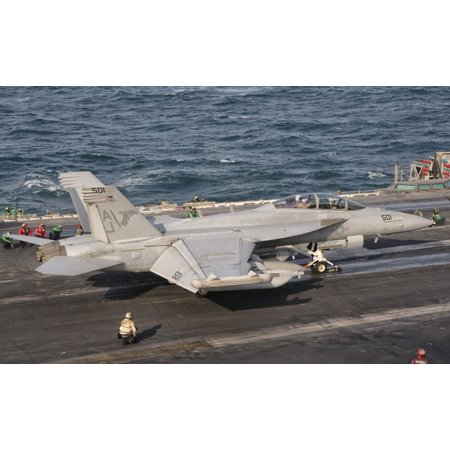 An Ea 18G Growler Is Ready For A Mission Aboard Uss George Hw Bush Canvas Art   Giovanni Collastocktrek Images  36 X 23