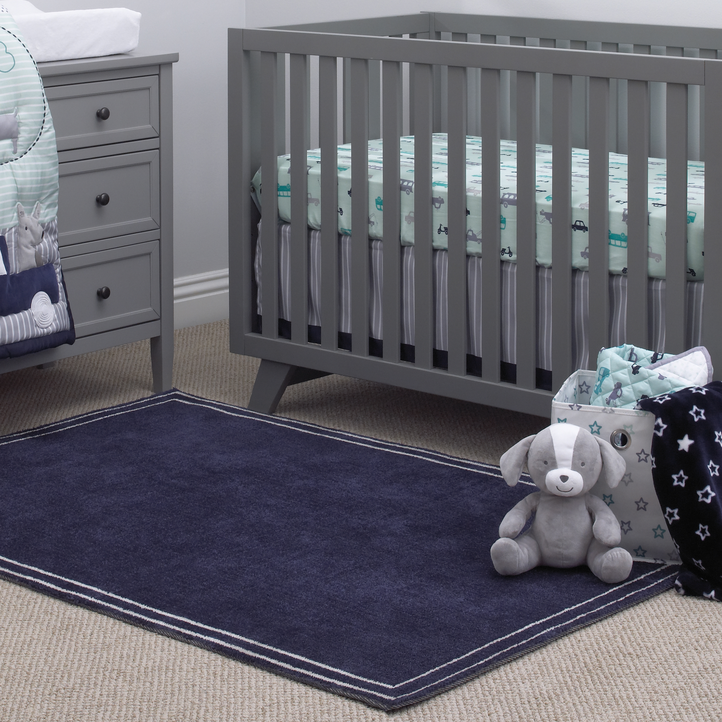 "Little Love by NoJo Kids/Nursery Plush Navy Rug, 5'9"" x 3'9"", Navy with Stripe Border"