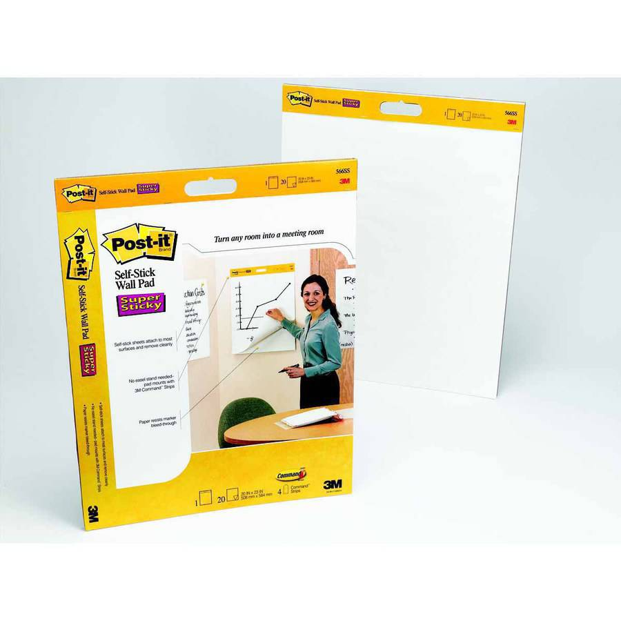 "3M Post-it Self-Stick Wall Pad, 20"" x 23"",  20 Sheets per Pad, Pack of 2 Pads"