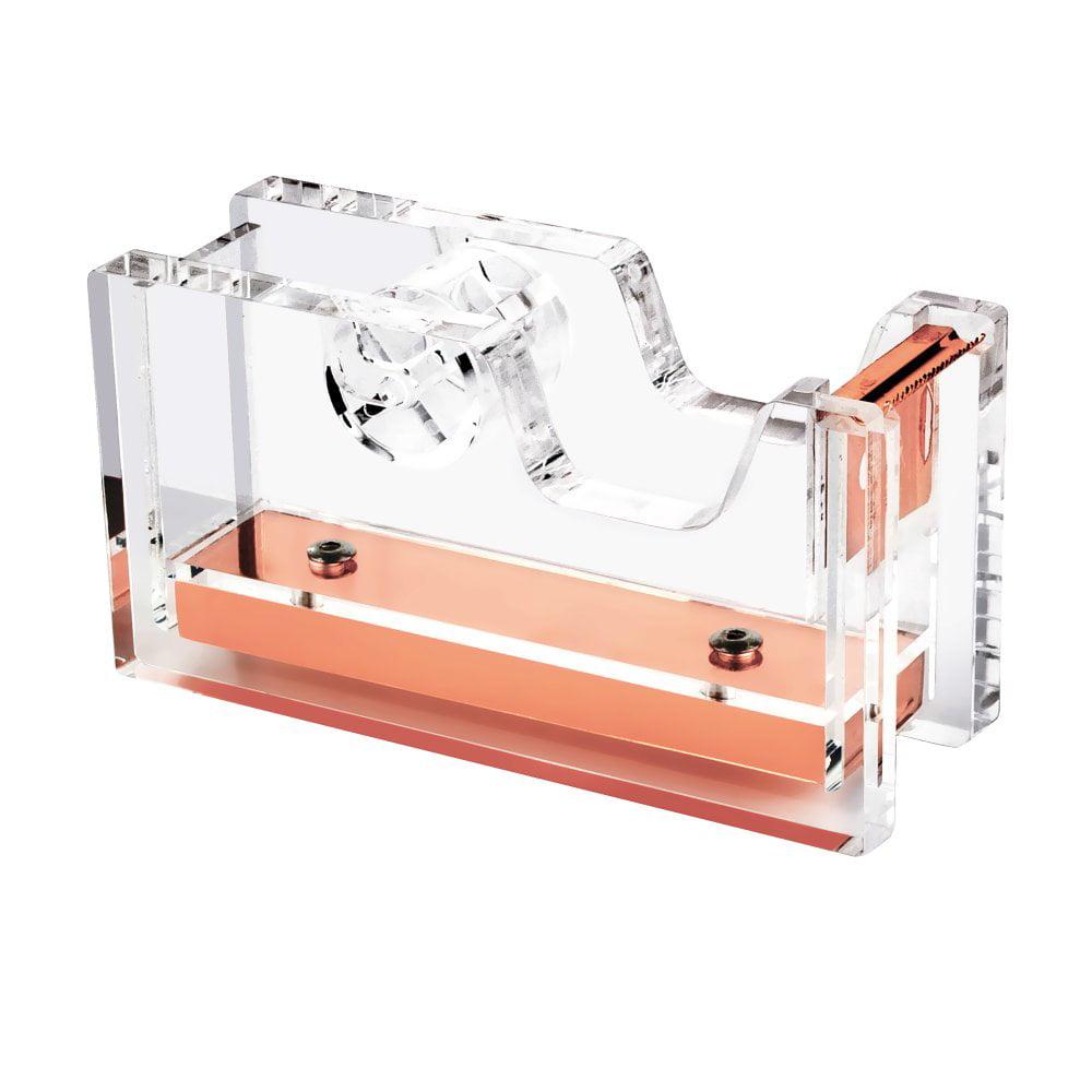 "Insten Acrylic Desktop Tape Dispenser (1"" Core) Clear Rose Gold Deluxe Design by Insten"
