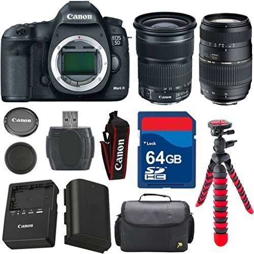 Canon 5D Mark III 22.3 MP Full Frame CMOS with 24-105mm f/3.5-5.6 IS STM Lens + Tamron 70-300mm Zoom Lens with 1080p Full-HD Video Mode Digital SLR Camera Bundle - International Version