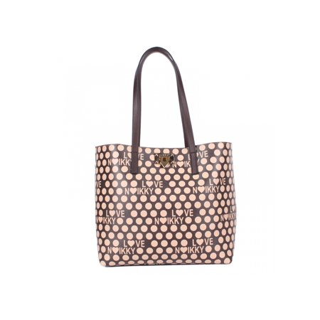 Fashion Polka Dot Design, Brown Large Women Tote Bag Bride Polka Dot Tote