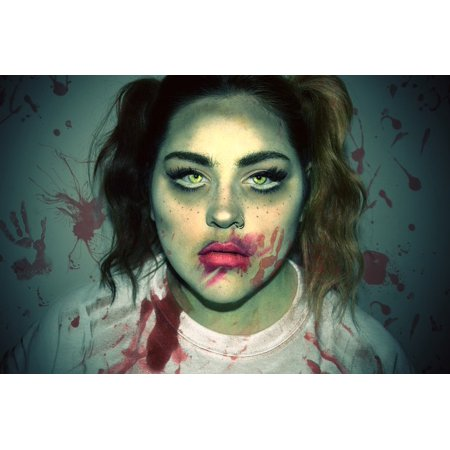 Halloween Decorations To Make And Print (LAMINATED POSTER Halloween Woman Girl Zombie Horror Makeup Female Poster Print 24 x)