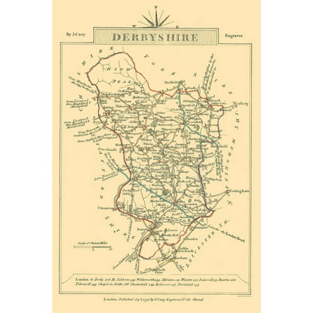 Map Of England Derbyshire.Old Great Britain Map Derbyshire County England Cary 1792 23