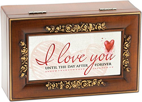I Love You Wood Finish Rose Jewelry Music Box Plays You Light Up My Life by