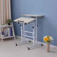 Ktaxon Standing Laptop Desk with Mainframe Box & Double Desktops White Maple Color