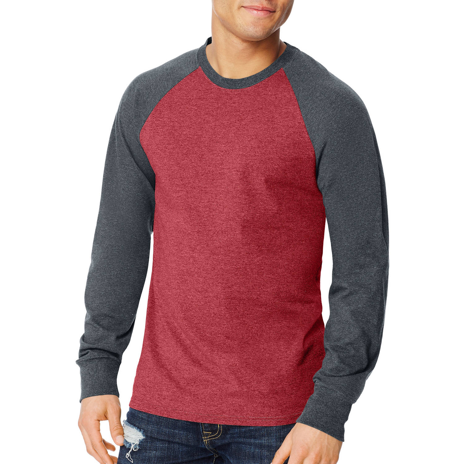 Hanes Men's X-temp Long Sleeve Colorblock Raglan T-shirt
