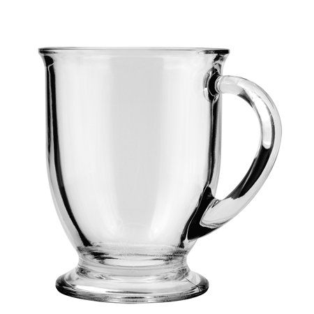 16 oz Cafe Mug, Case of 6 - Clear Mugs