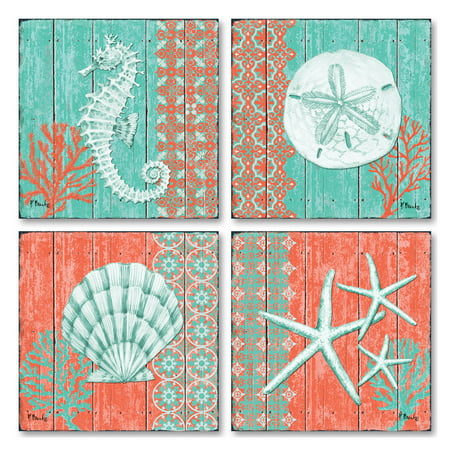 Seashell Four Light - Gango Home Decor Teal and Coral Ocean Seashell, Sand Dollar, Seahorse, & Star Fish Collage; Coastal Wall Art by Paul Brent; Four Green 12x12in Unframed Paper Prints (Paper Only, No Frame)