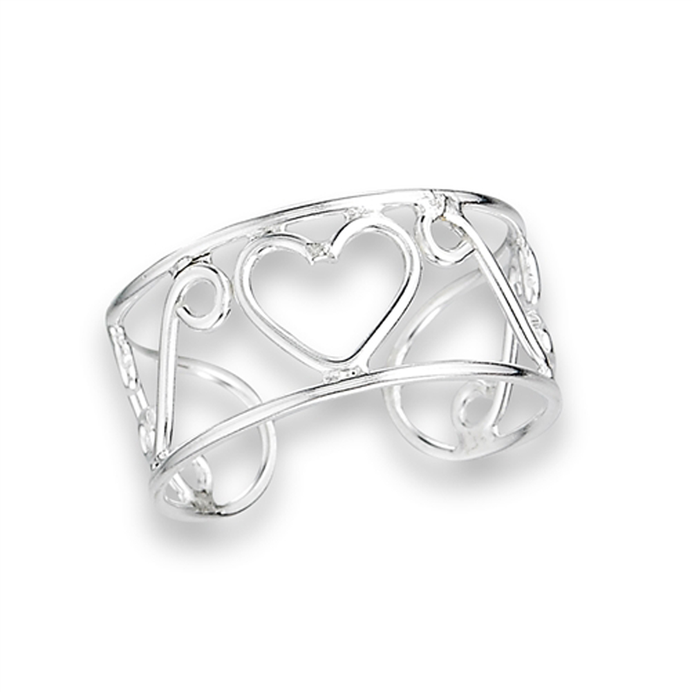 Promise Heart .925 Sterling Silver Simple Midi Toe Ring Band