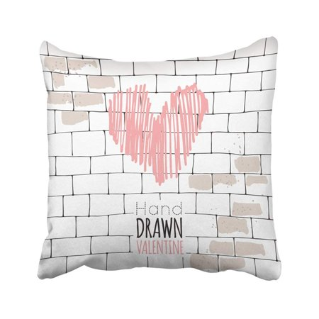 ARTJIA Valentine's Day February 14th Heart Letter Love Ribbon Line Ink Sketch Watercolor Abstract Pillowcase Throw Pillow Cover 18x18