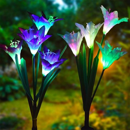 [Solar Powered Lamps] 2 Pcs/Set 4 Artificial Lily Flower Outdoor Solar Garden Stake LED Lights Multi-color Changing for Patio Yard Decoration (2 Solar Garden)