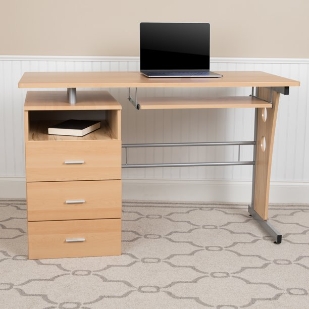 Flash Furniture Maple Desk With Three, Flash Furniture Computer Desk With 3 Drawer Pedestal