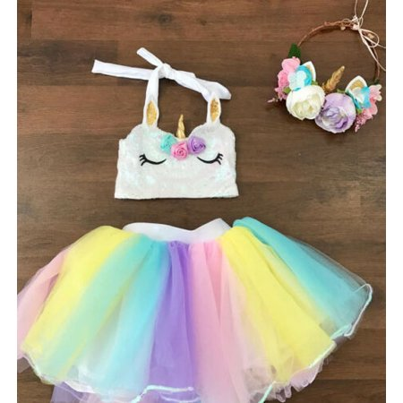 Princess Costumes For Baby Girl (Kids Baby Girls Princess Rainbow Tulle Tutut Skirt Dancewear Dress Costume)