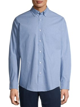 George Men's and Big Men's Long Sleeve Stretch Poplin, up to 5xlt
