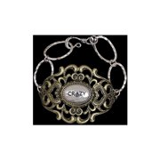 "3D Belt Co Silver Strike""Crazy"" Plate Bracelet, LB8393B"
