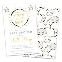 Personalized Moon and Stars Baby Shower Invitations