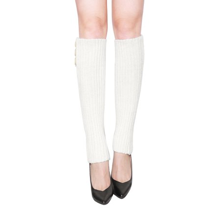 Women's Buttons Decor Ribbed Knit Knee High Leg Warmers Pair (Fleece Knee Warmers)