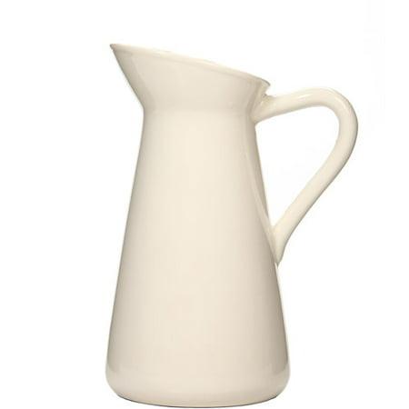 Hosley Elegant Expressions Ceramic Pitcher Vase, White