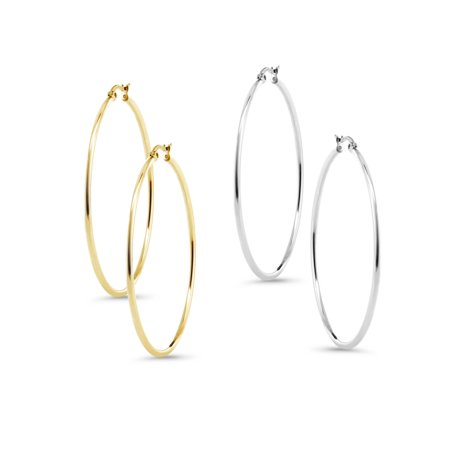 Stunning Stainless Steel Hoop Set of Two Earrings (50mm Diameter) Two-Pair Set](Gangster Earrings)