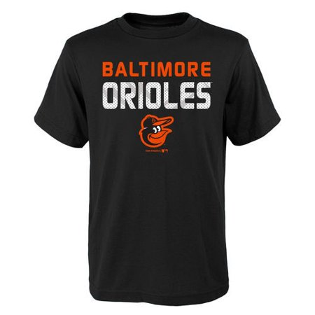 MLB Baltimore ORIOLES TEE Short Sleeve Boys Team Name and LOGO 100% Cotton Team Color (Crystal Baltimore Orioles Baseball)