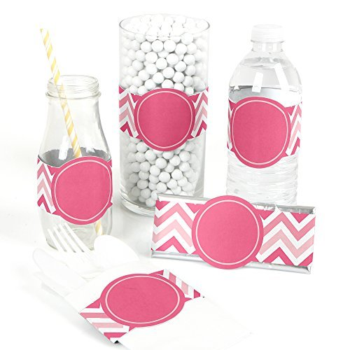 Chevron Pink - DIY Party Wrapper Favors - Set of 15