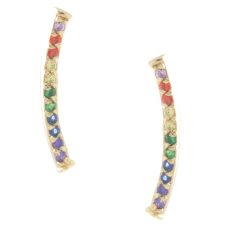 Fine Gold Plate Over Sterling Silver Rainbow CZ Curved Bar Stud Earrings