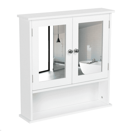 Bathroom Wall Cabinet with Mirror,White ()
