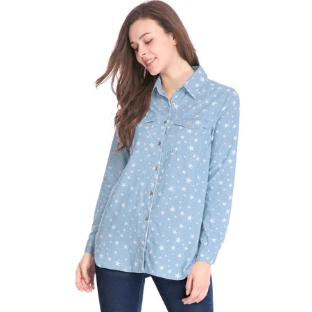 15ed9624 Allegra K Women Long Sleeves Button Up Stars Tunic Denim Shirt Light Blue XL  - image ...
